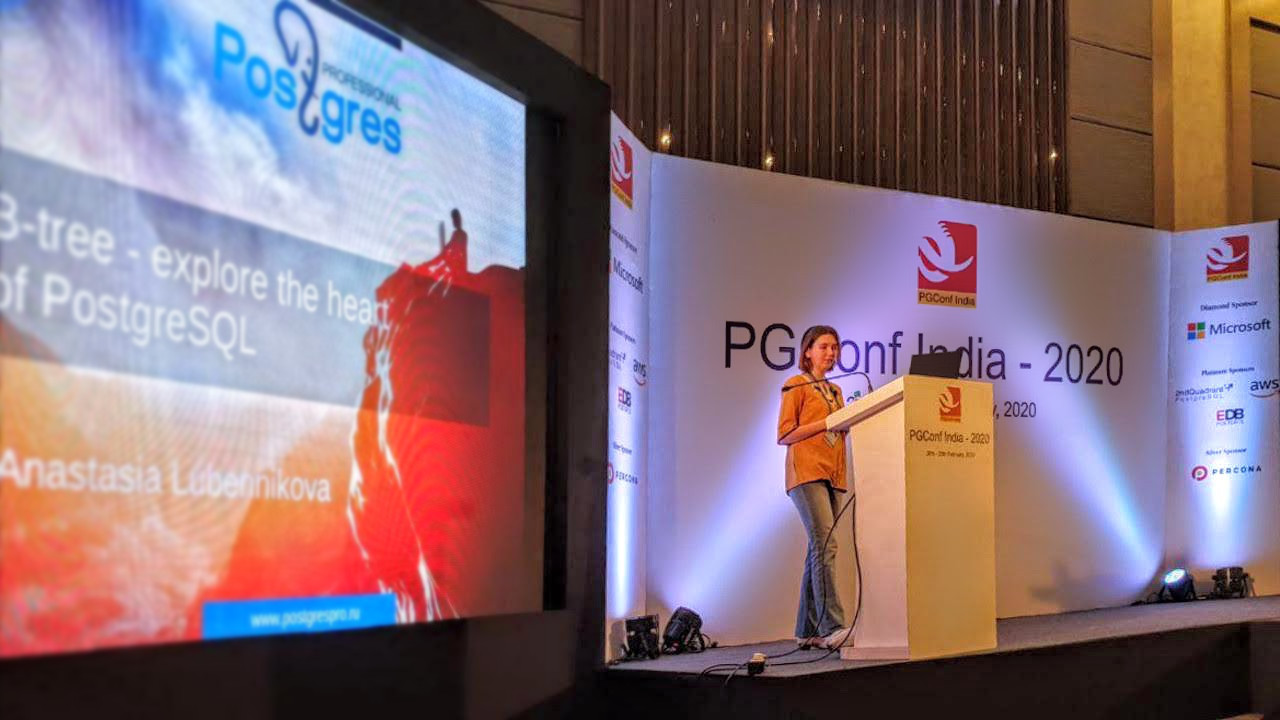 Anastasia Lubennikova, a Postgres Pro leading developer, has reported at PGConf.India that  Peter Geoghegan had  committed recently the long-awaited B-Tree index deduplication patch to PostgreSQL.